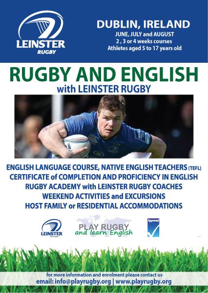 Aprendé Inglés y practicá rugby con los profesionales Leinster Rugby